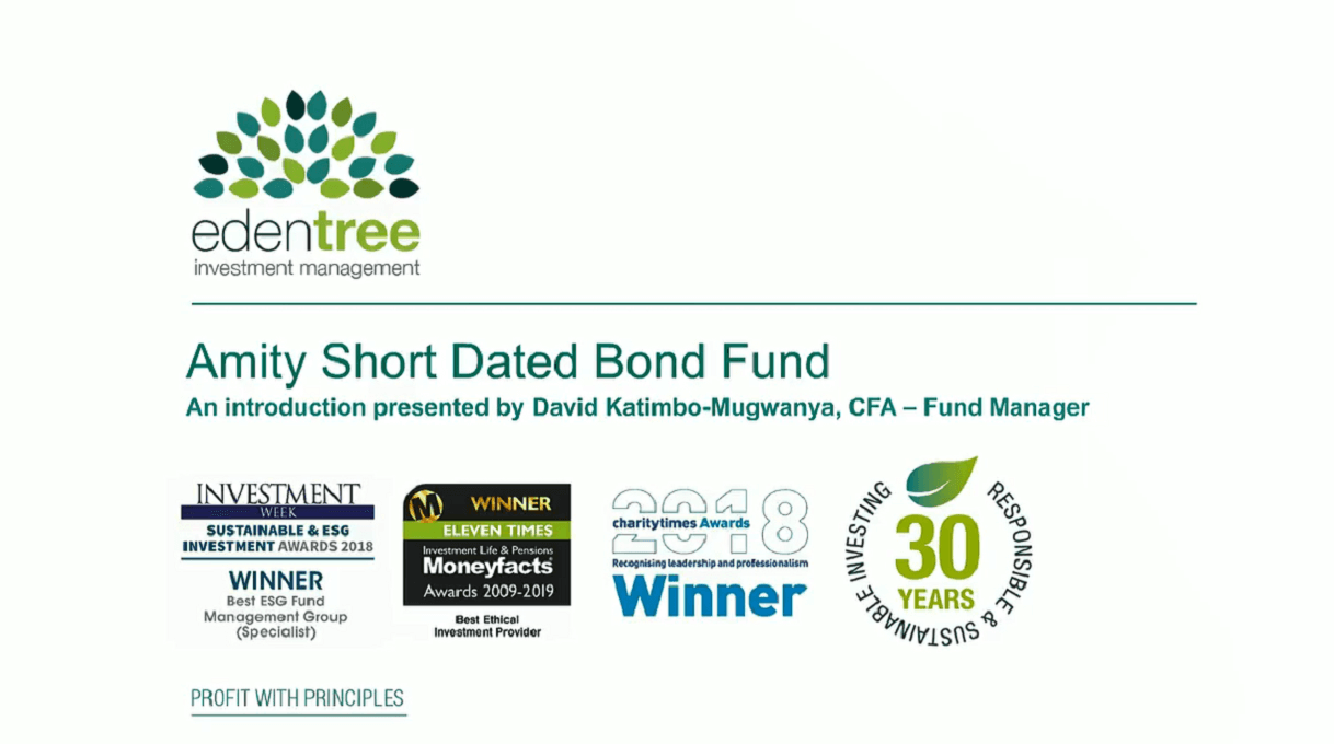 Amity Short Dated Bond Fund - an introduction for charities